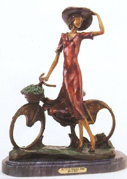 """Reissue """"The Bicycle Spring Time"""" Bronze by Icart"""