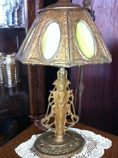 Art Nouveau Stained Glass Panel Table Lamp