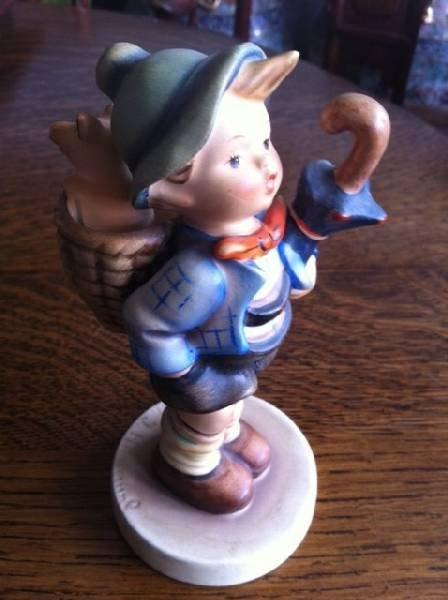 Hummel Collectible Figurine-Boy w/Basket & Umbrella