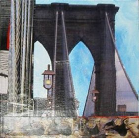 Brooklyn Bridge By Joe Borg - 8 X 8 Collage On Canvas