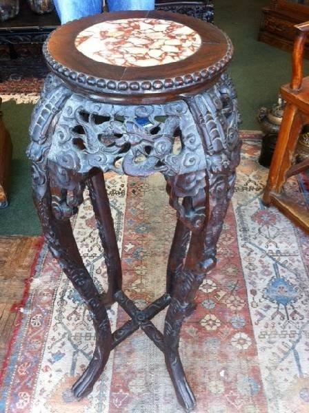 Asian Round Rosewood Table w/Marble Top - PICK UP ONLY