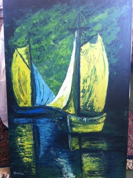 2-Sided Oil Painting - Signed by Herminine