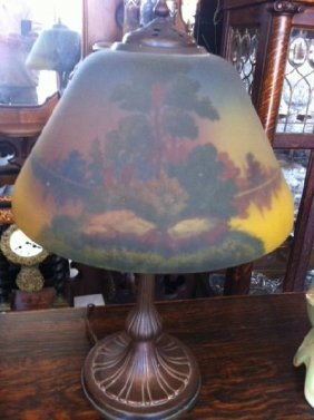 Antique Glass Shade Handel Victorian Lamp - Signed