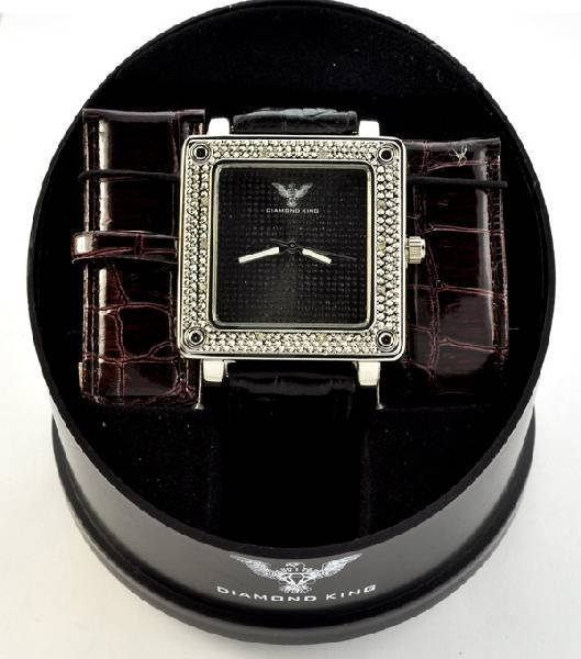Diamond King Mens Sq.  Stainless Steel & Diamond Watch