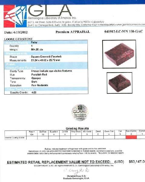 APP: 53.1k 984.20CT Square Cut Ruby Gemstone - 3