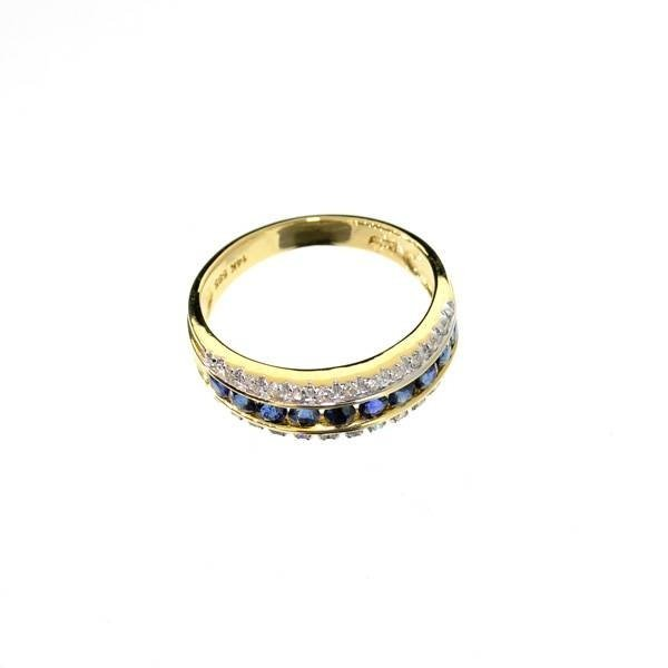 APP: 3k 14kt White/Yellow Gold Sapphire & Diamond Ring
