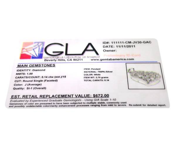 0CT Diamond & Platinum Sterling Silver Pendant - 2