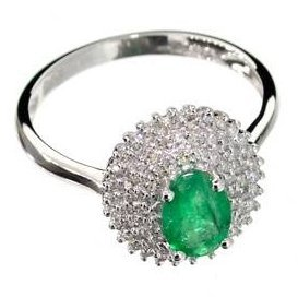 APP: 4k 14kt White Gold, Oval Emerald & Diamond Ring