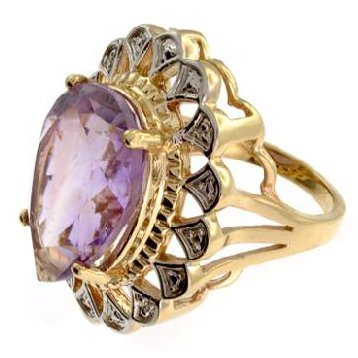 APP: 4k 14kt Yellow & White Gold, 17.02CT Amethyst Ring