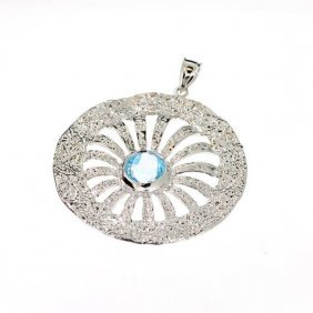 APP: 1k 3CT Round Cut Topaz & Sterling Silver Pendant