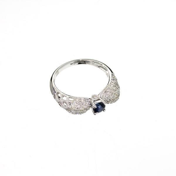 APP: 4k 14kt White Gold, Round Sapphire & Diamond Ring
