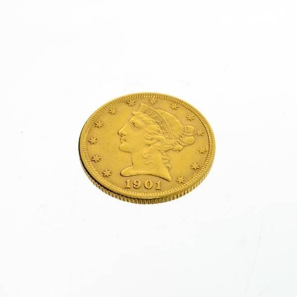 1901 U.S. $5 Liberty Head Gold Coin - Investment