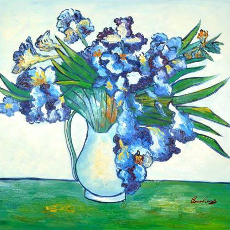 Oil Painting - Blue Flowers in a Vase- 23.5x27