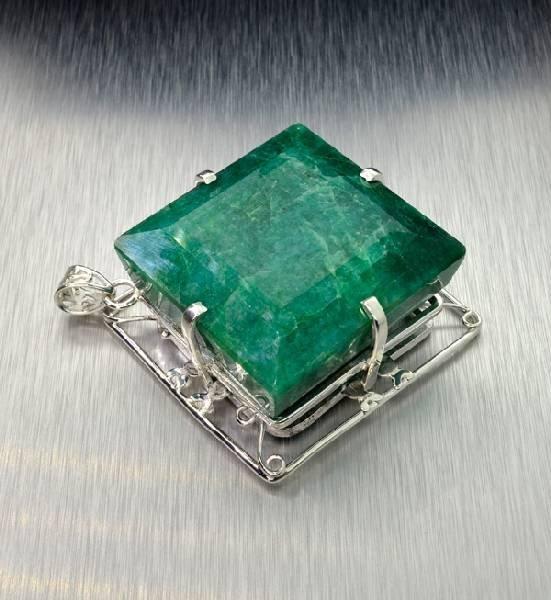 APP: 17.5k 370.79CT Emerald & Sterling Silver Pendant