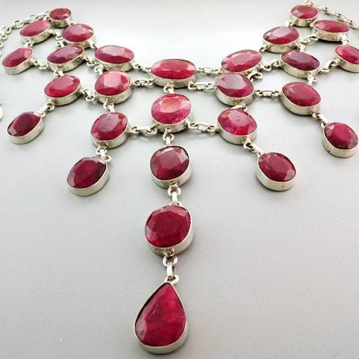 APP: 60.9k 447.06CT Ruby & Sterling Silver Necklace