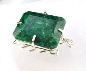 APP: 28k Sebastian 471CT Emerald Silver Pendant