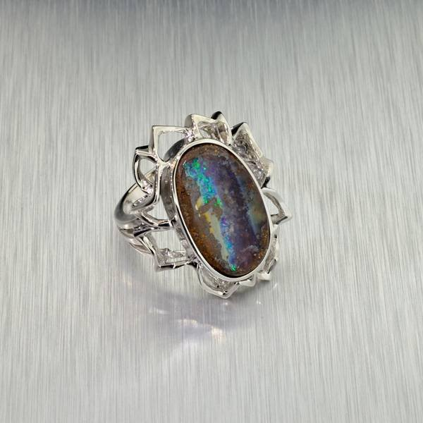 APP: 11.3k 12.65CT Boulder Opal & Sterling Silver Ring