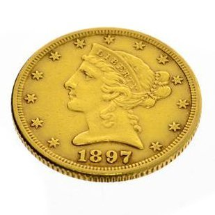 1897 U.S. $5 Liberty Head Gold  Coin - Investment