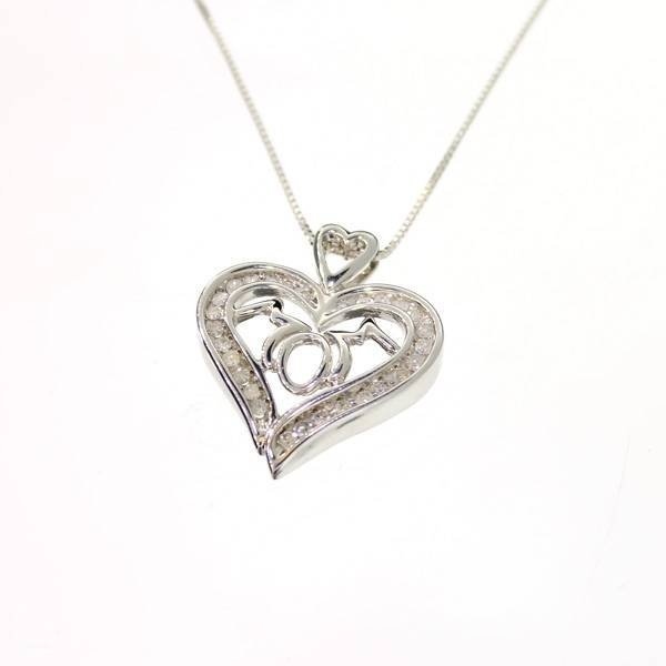 Diamond & Platinum Sterling Silver Pendant