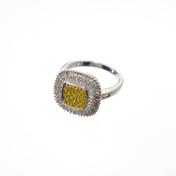 APP: 3k 1CT Diamond & Platinum Sterling Silver Ring