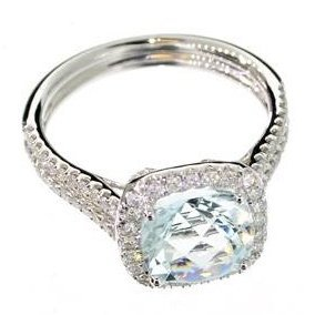 APP: 5k 14kt White Gold, 2CT Aquamarine & Diamond Ring