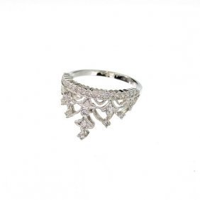 APP: 4k 14kt White Gold, 0.23CT Round Cut Diamond Ring