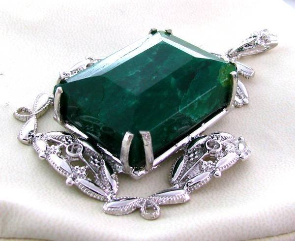 APP: 18.9k 147.75CT Emerald & Sterling Silver Pendant