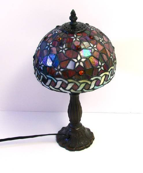 Round Tiffany - Style Table Lamp