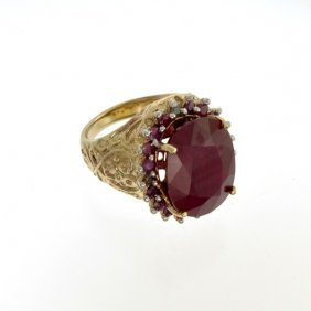 APP: 20k 14kt Gold, 16CT Ruby & Diamond Ring