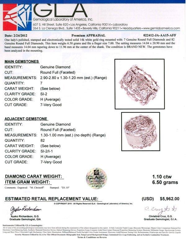 APP: 6k 14kt White Gold, 1.10CT Round Cut Diamond Ring - 2