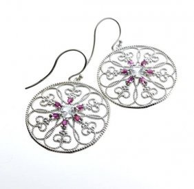 APP: 2k 1CT Round Cut Topaz Ruby & Silver Earrings
