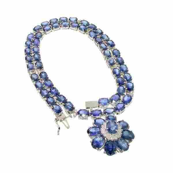 APP: 34k 14kt White Gold, 73CT Sapph & Diamond Necklace