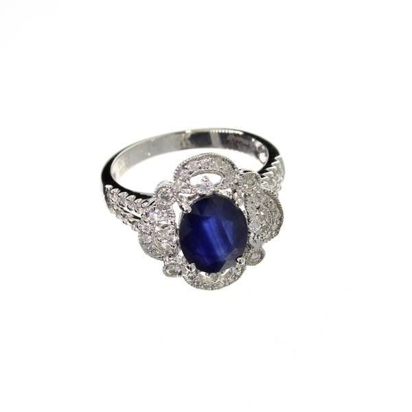 APP: 10k 14kt White Gold, 2CT Sapphire & Diamond Ring