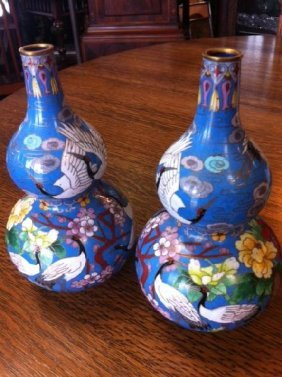 Pair Of Hand-Painted Cloisonne Asian Vases