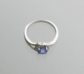 APP: 1k Tanzanite & Diamond Plat Sterl Silver Ring