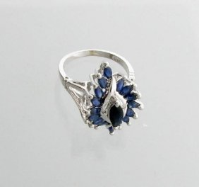 APP: 2k 1CT Marquise Cut Sapphire & Sterl Silver Ring