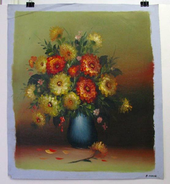 Oil Painting (Yellow & Red Flowers On Pot) 23.5 X 27