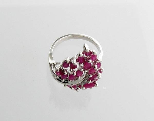 APP: 3k 3.27CT Marquise Cut Ruby & Sterling Silver Ring