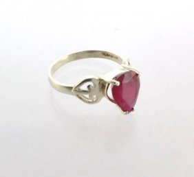 APP: 4k Sebastian 4CT Pear Cut Ruby & Sterl Silver Ring