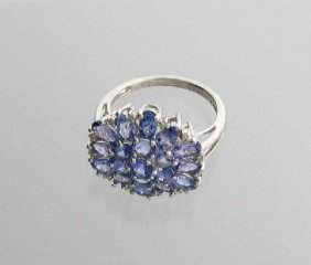 APP: 4k 3CT Tanzanite & Diamond Plat Sterl Silver Ring