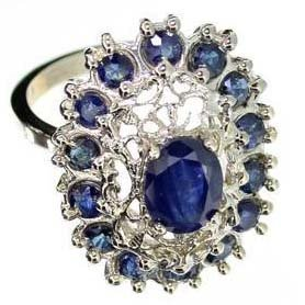APP: 3k 2CT Oval Cut Sapphire & Sterling Silver Ring