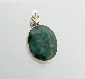 APP: 2k 16CT Oval Cut Grn Sapphire & Silver Pendant