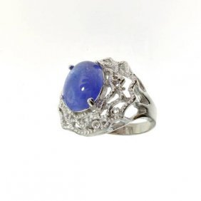 APP: 10k 10CT Oval Cut Cabochon Tanzanite Silver Ring