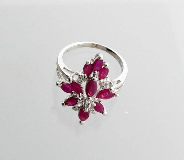 APP: 2k 2.28CT Marquise Cut Ruby & Sterling Silver Ring