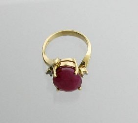APP: 12k 14kt Gold, 8CT Ruby & Diamond Ring