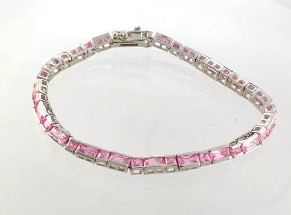 Custom Made Silver Fancy Cubic Zirconium Bracelet