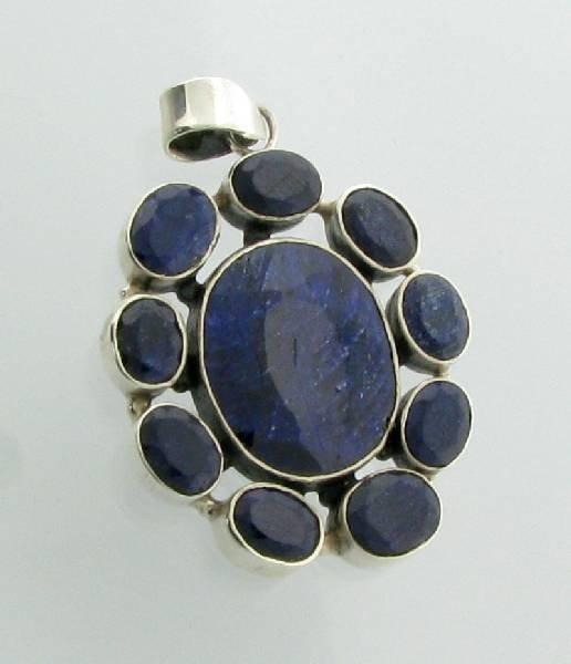 APP: 6k 37.18CT Blue Sapphire & Sterling Silver Pendant