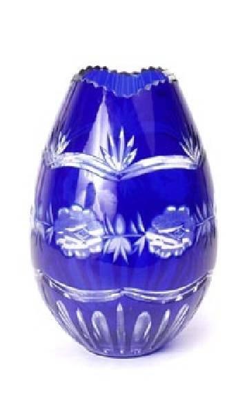 Blue cut overlay glass vase. Egg shaped.
