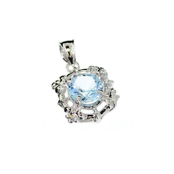 3CT Round Cut Topaz & Sterling Silver Pendant
