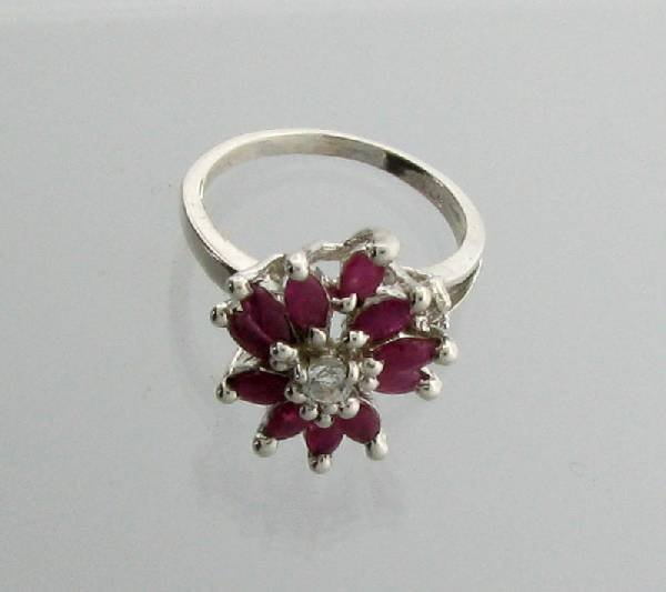 APP: 2.1k 1.52CT Marquise Cut Ruby Sterling Silver Ring